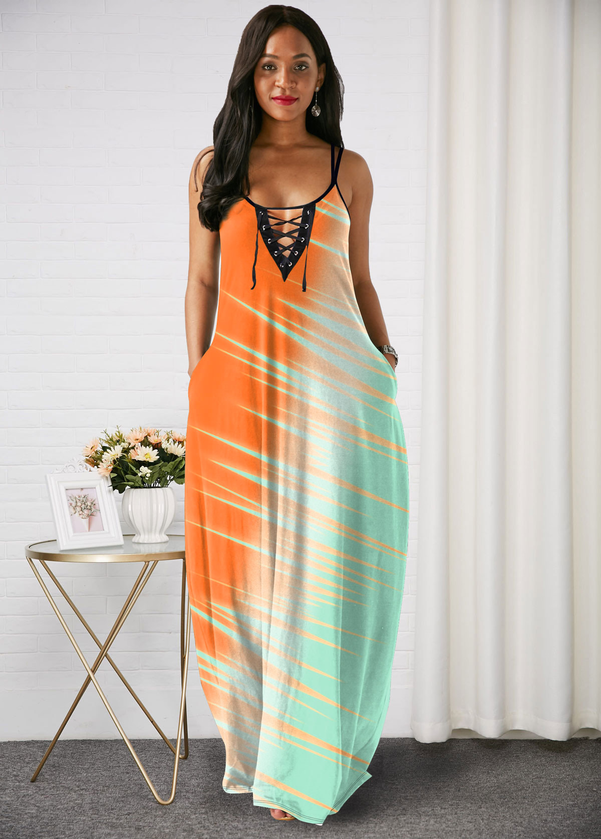 Spaghetti Strap Color Block Lace Up Maxi Dress