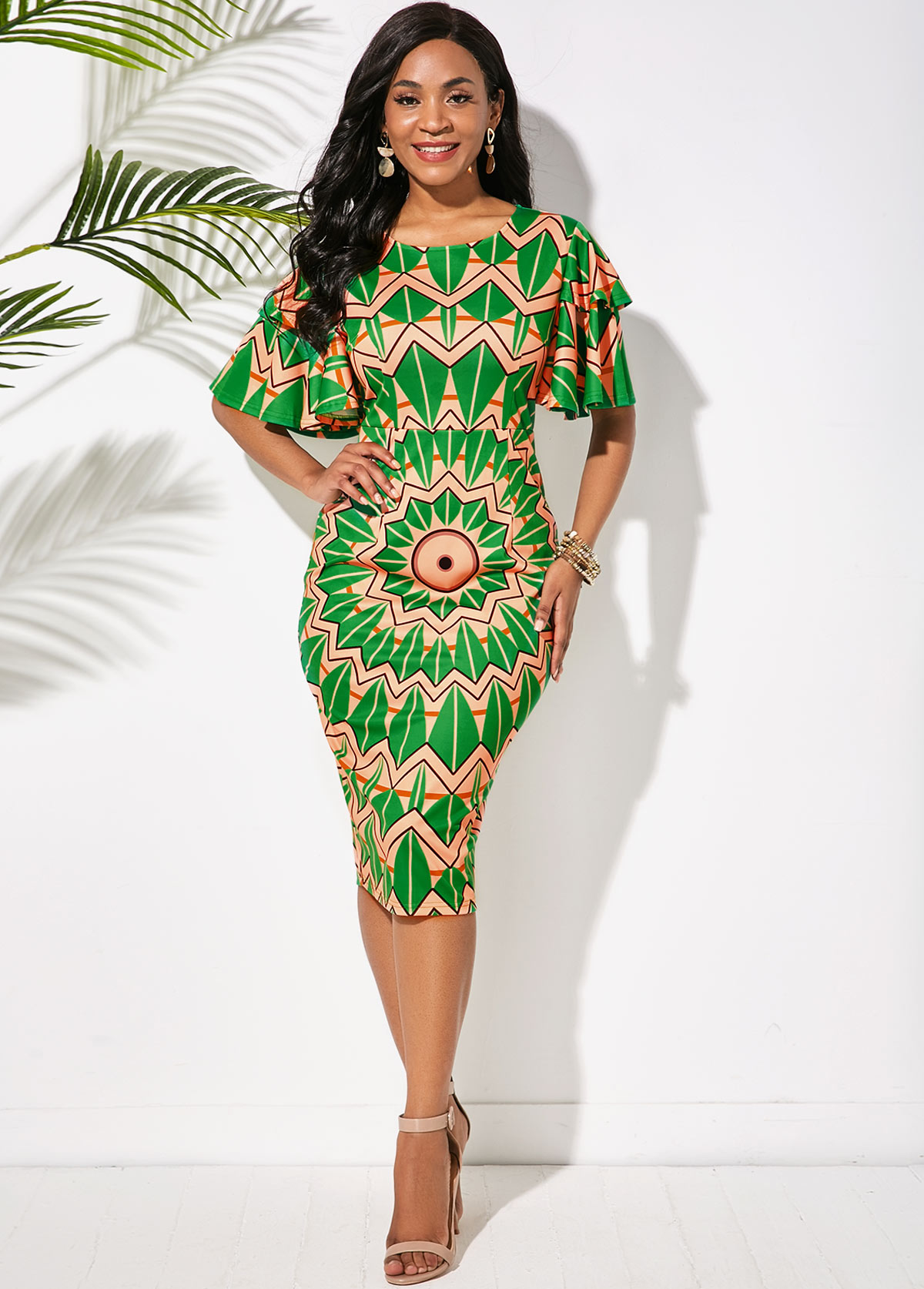 Butterfly Sleeve Tribal Print Round Neck Dress