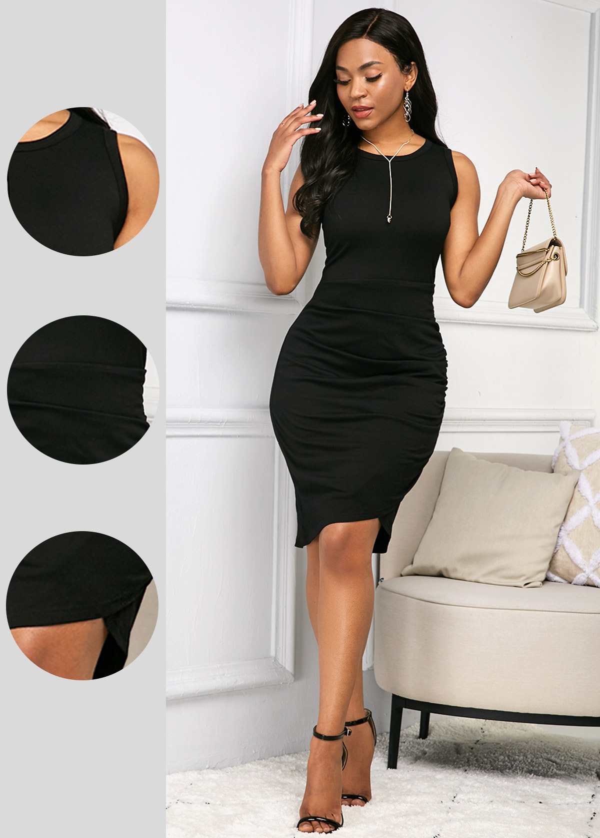 Black Round Neck Sleeveless Soft Dress
