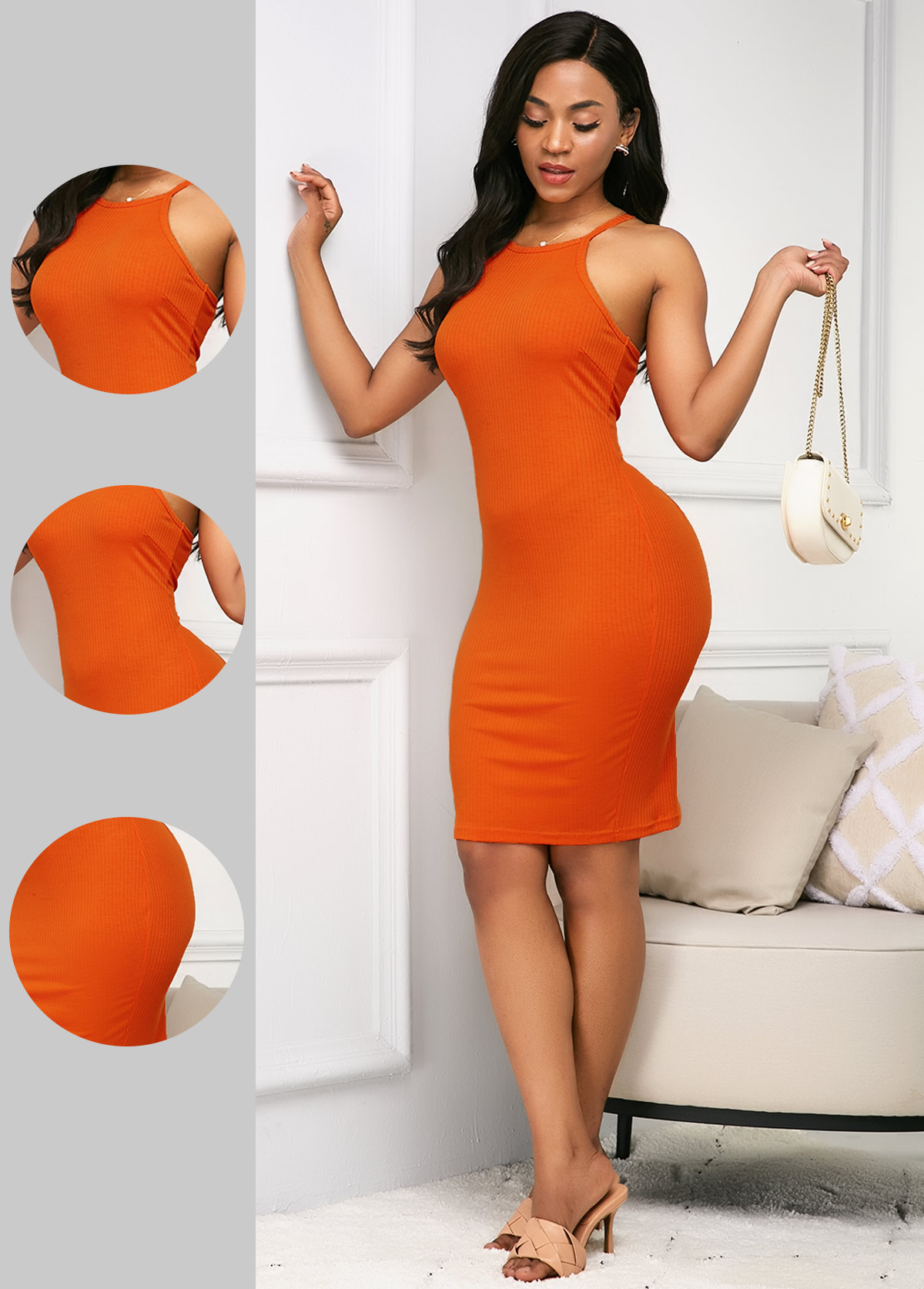 Bib Neck Sleeveless Orange Sheath Dress