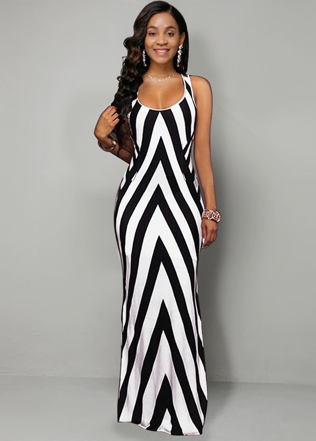 Stripe Geometric Print Side Slit Dress