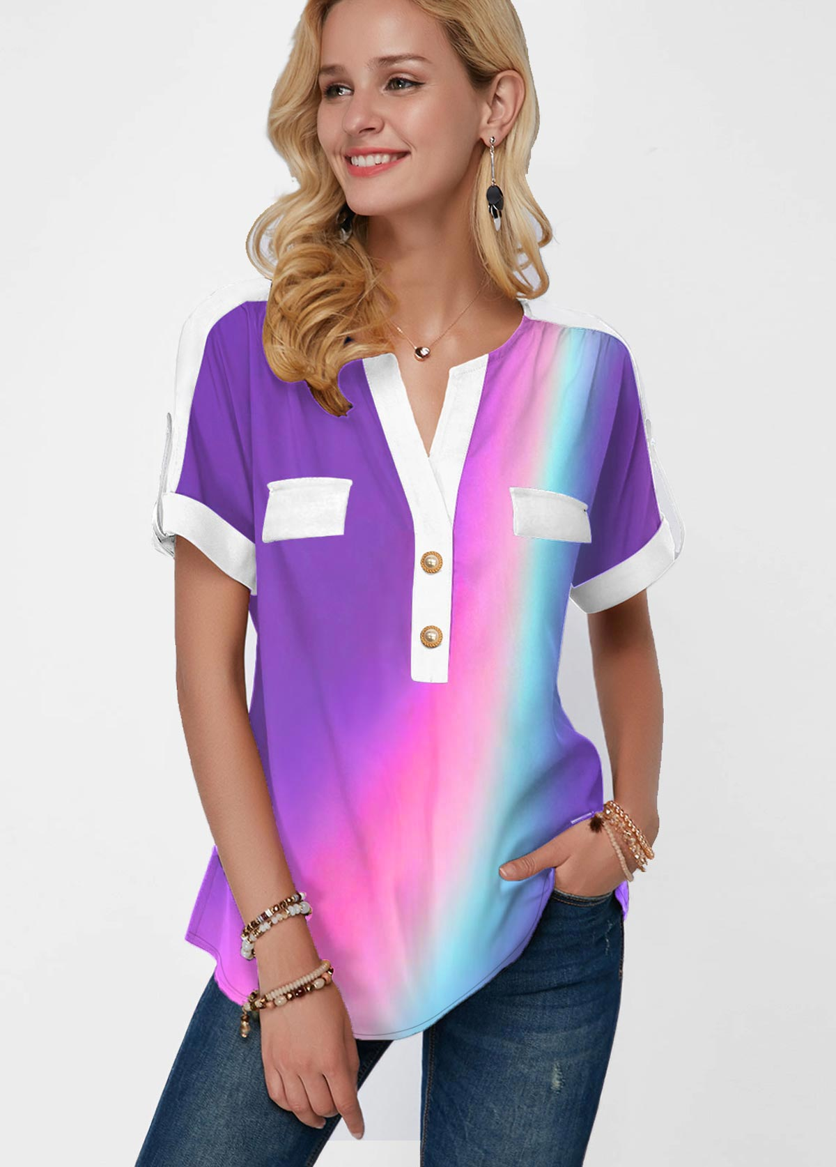 Button Detail Short Sleeve Rainbow Color Blouse