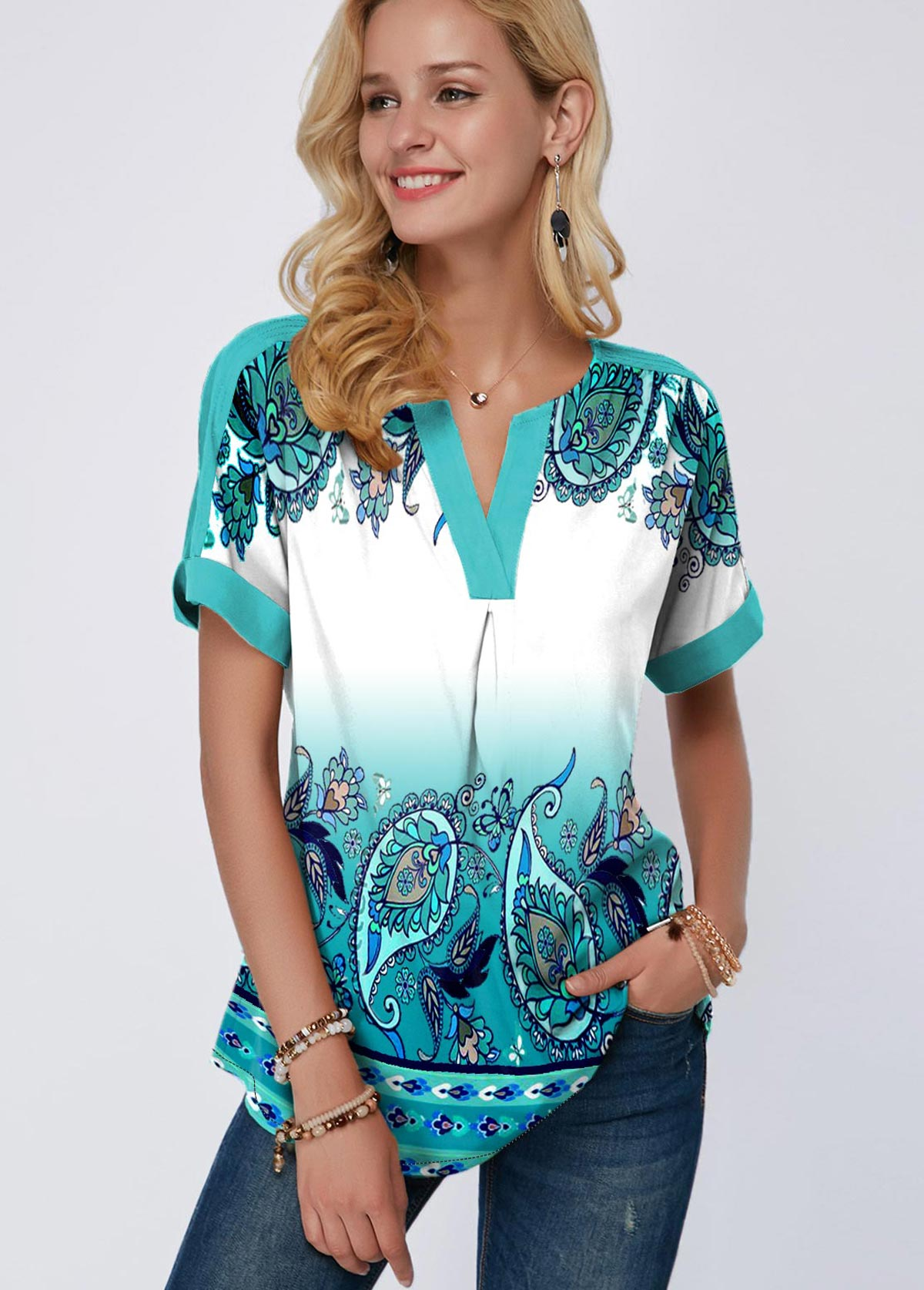 Tribal Print Green Short Sleeve Blouse