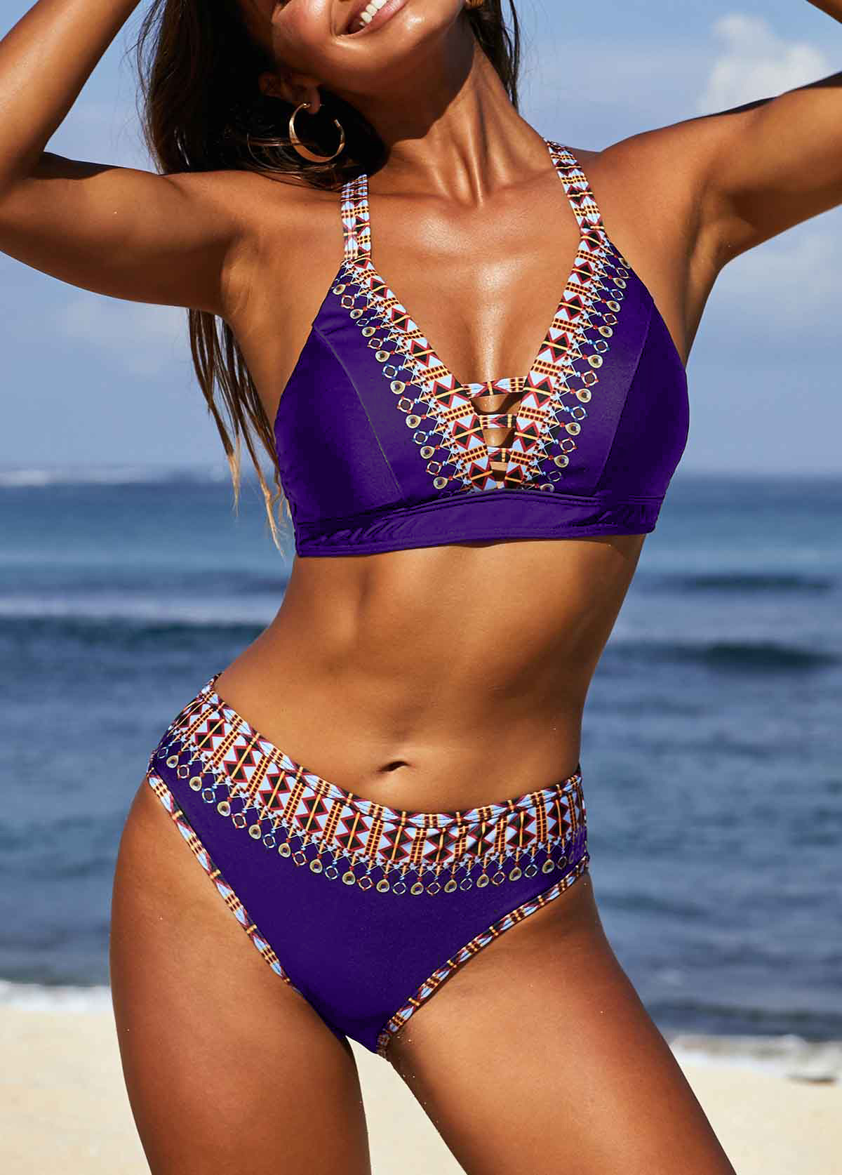Purple Spaghetti Strap Printed Bikini Set