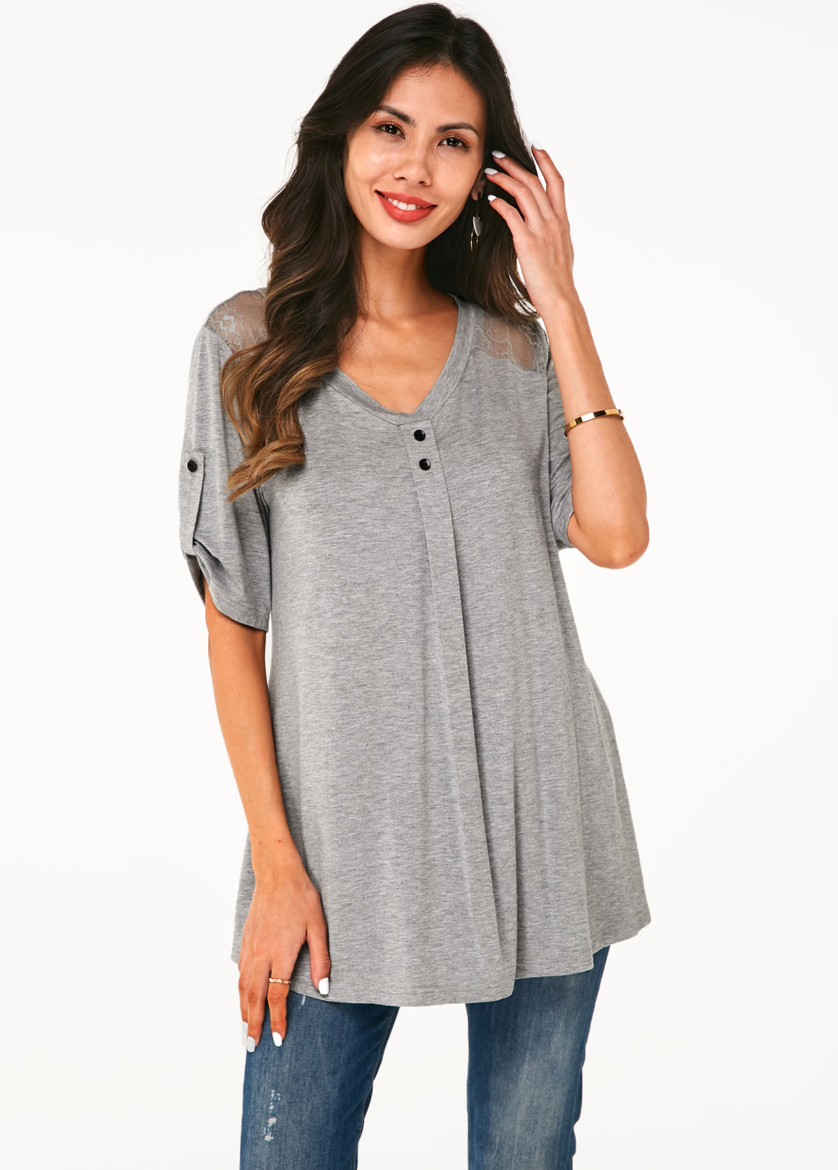Lace Panel Roll Tab Sleeve V Neck Soft T Shirt