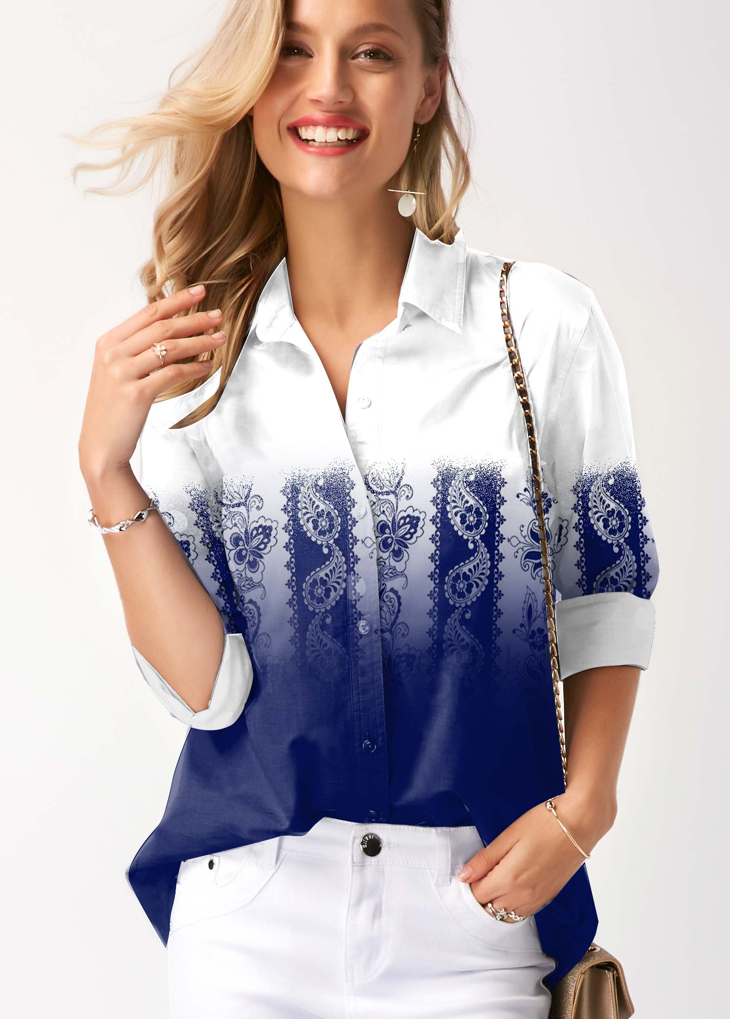 Paisley Print Button Up Gradient Blouse