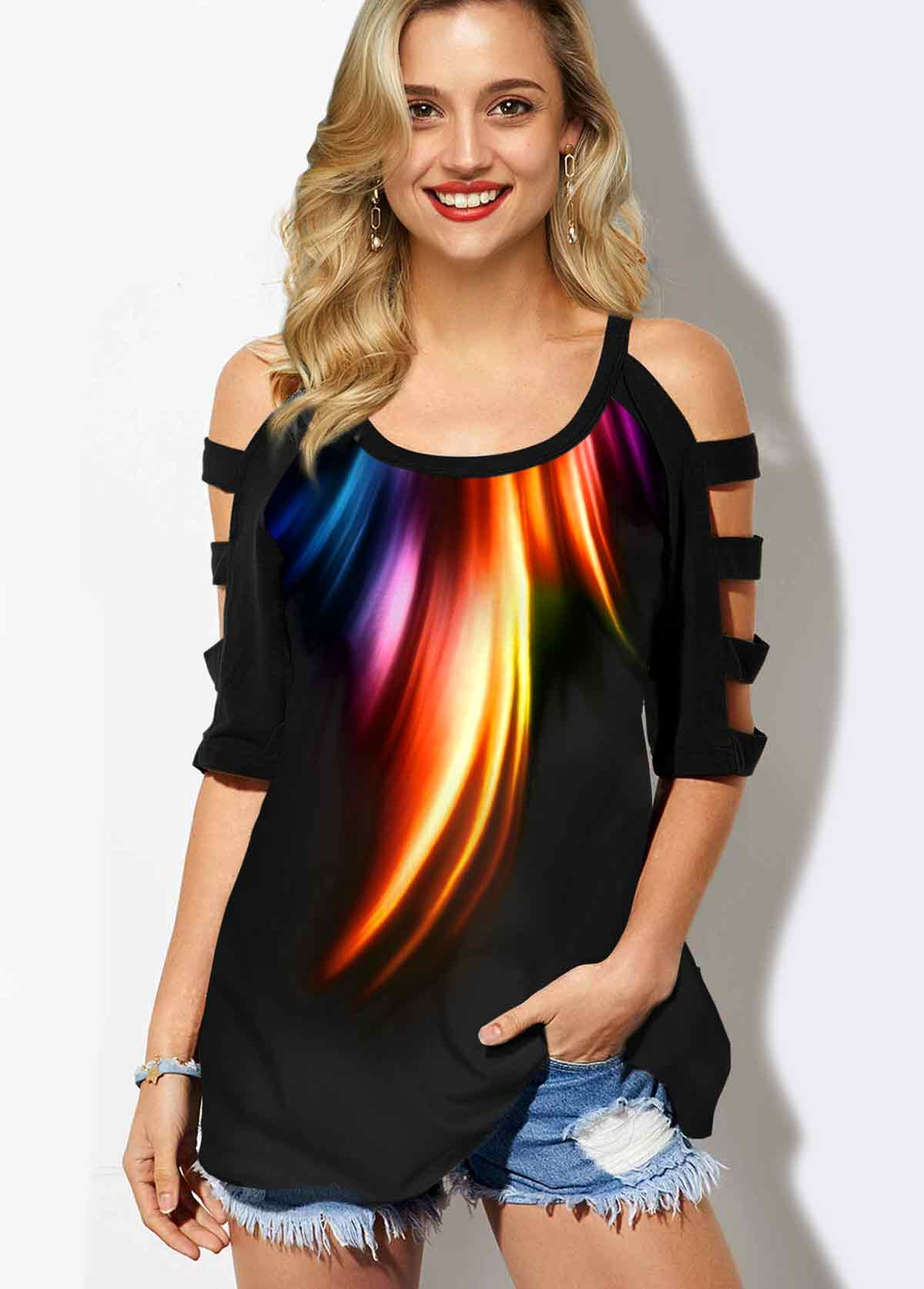 Rainbow Color Round Neck Cold Shoulder T Shirt