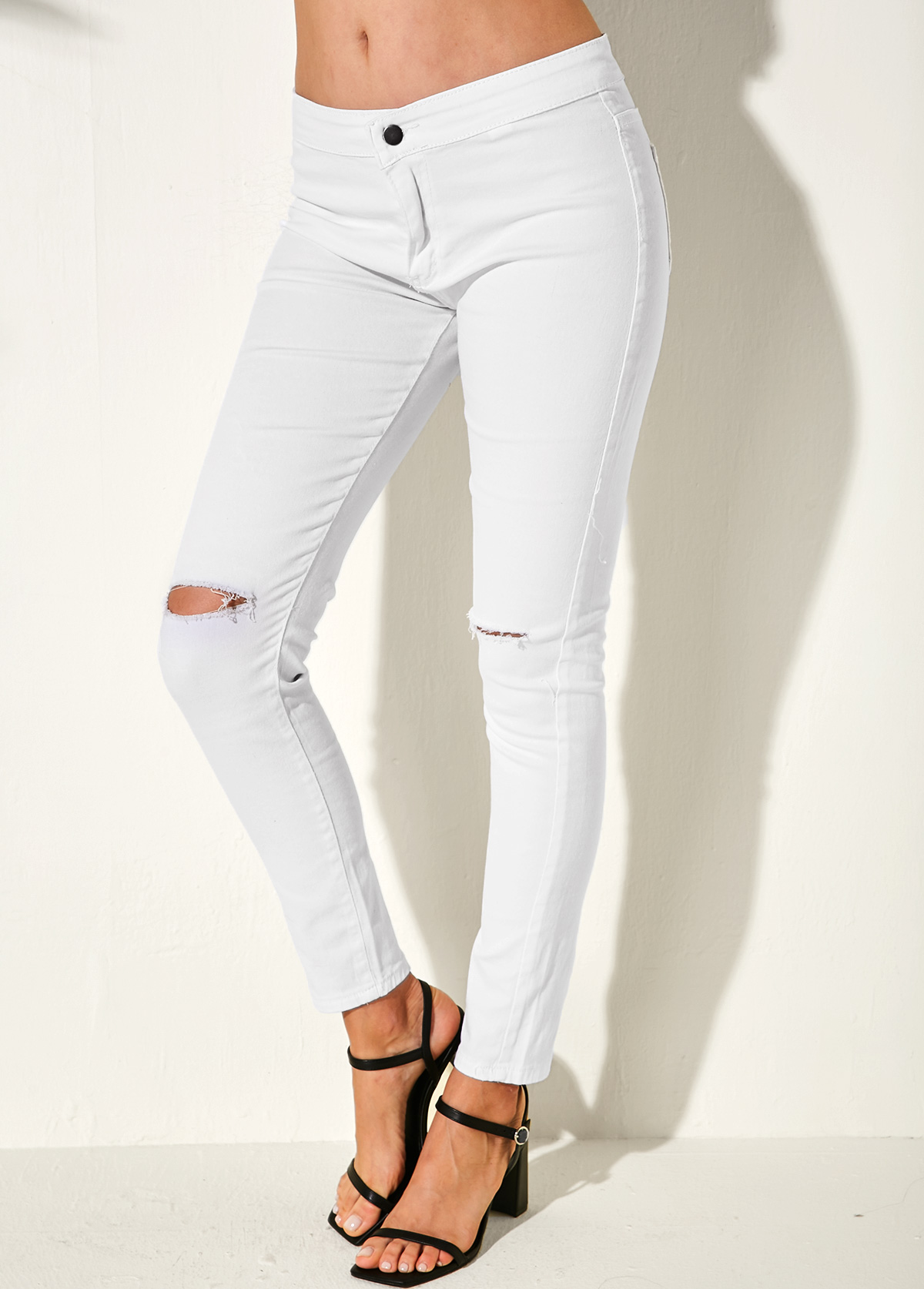 Shredded White Back Pocket Skinny Jeans