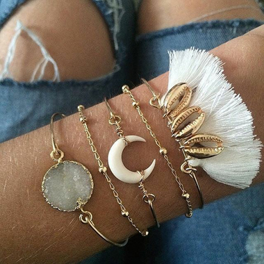 Gold Metal Tassel Embellished Crescent Shape Bracelet Set