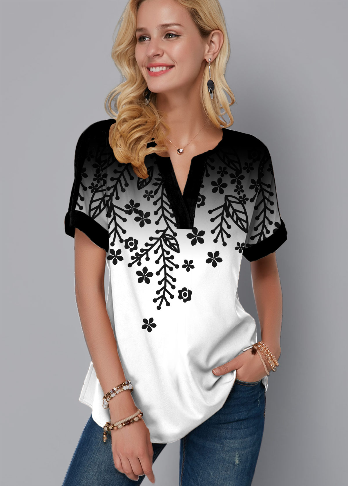 Multi Color Short Sleeve Printed Ombre T Shirt