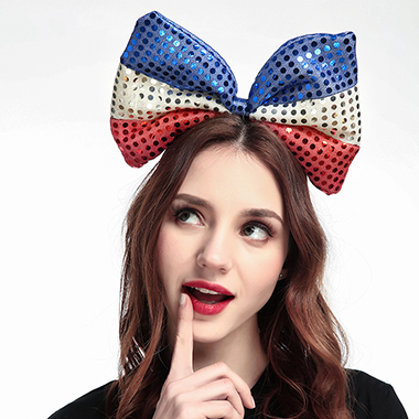 Color Block Sequin Bowknot American Flag Print Hair Hoop