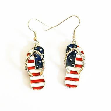 American Flag Print Rhinestone Metal Earrings