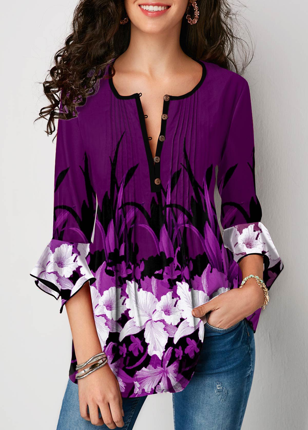 Purple Button Up Flower Print Round Neck Blouse