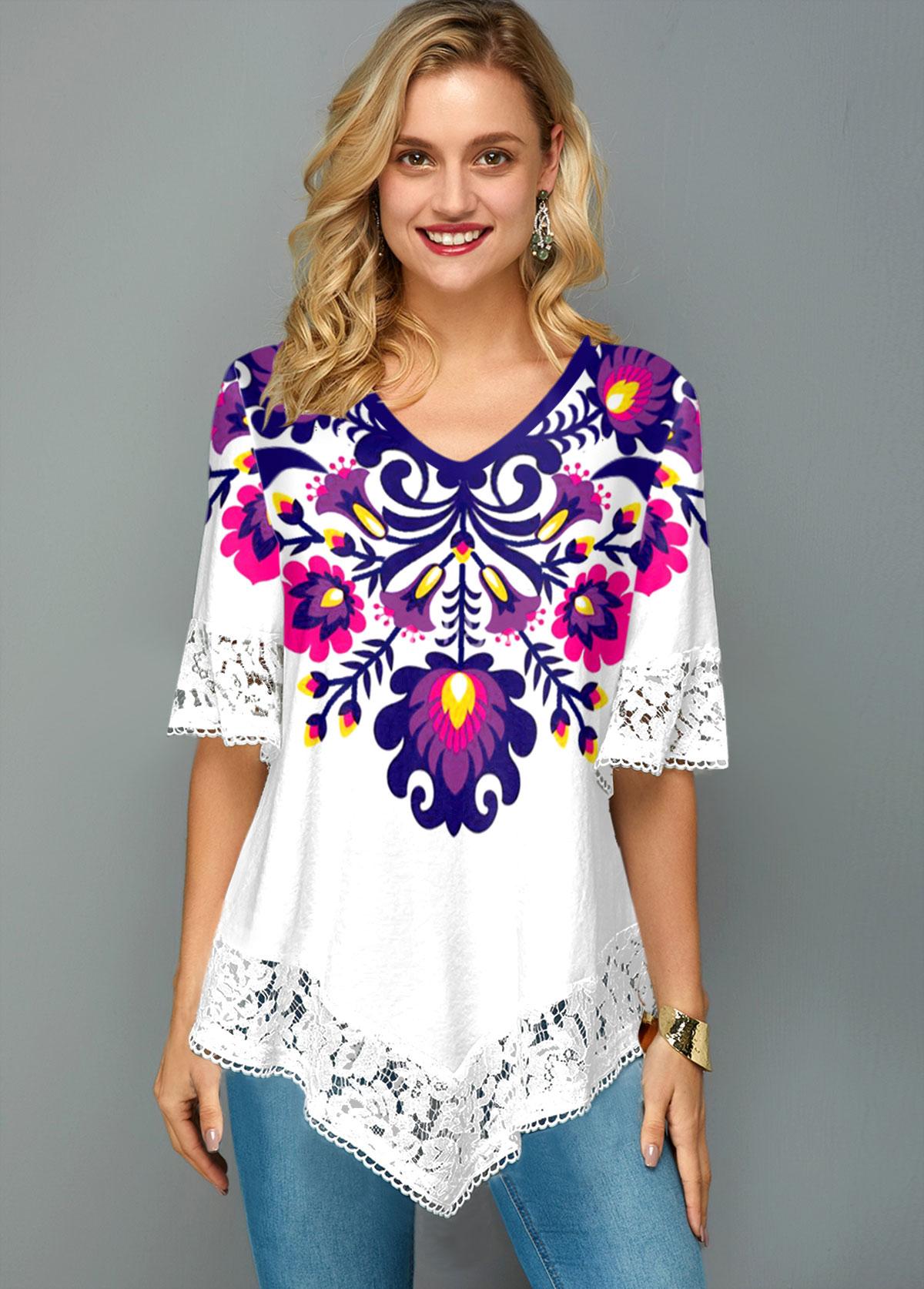 Lace Stitching Flower Print V Neck T Shirt