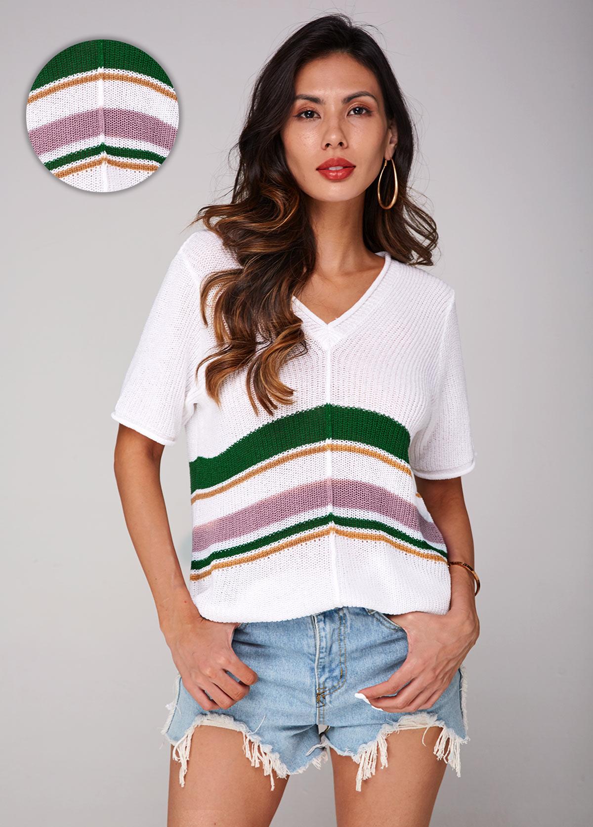 Contrast V Neck Short Sleeve Sweater