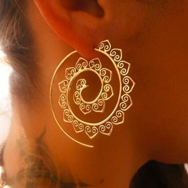 Spiral Design Gold Metal Earring Set