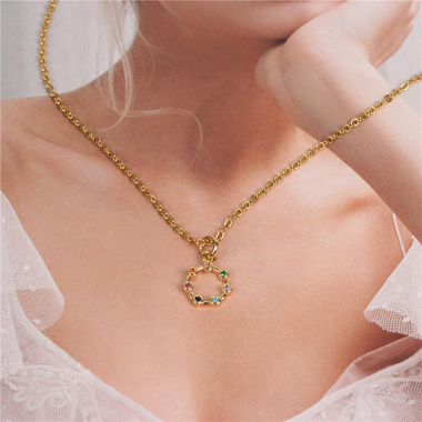 Rhinestone Embellished Metal Chain Necklace for Women