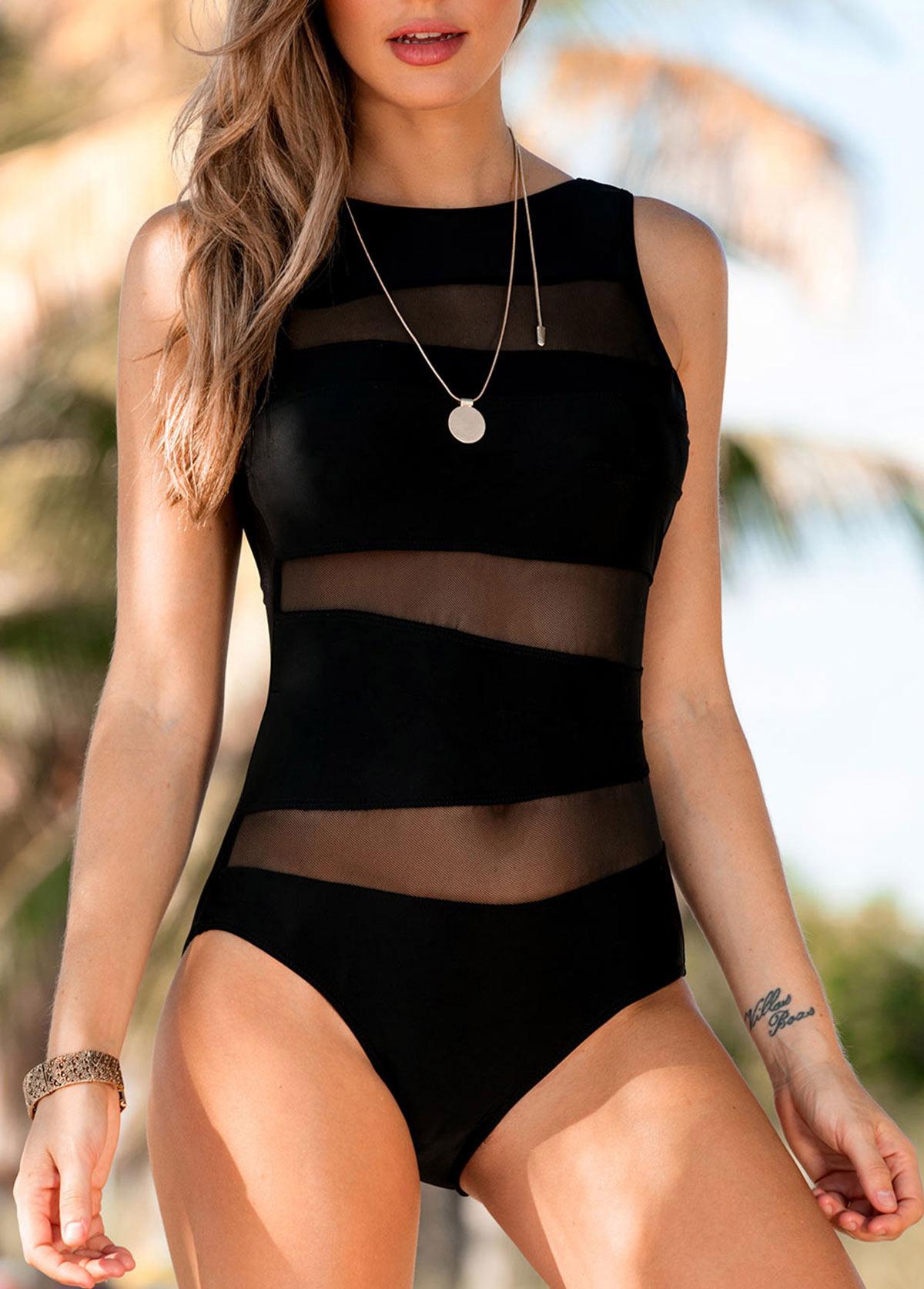 Mesh Panel Scoop Back Black One Piece Swimwear