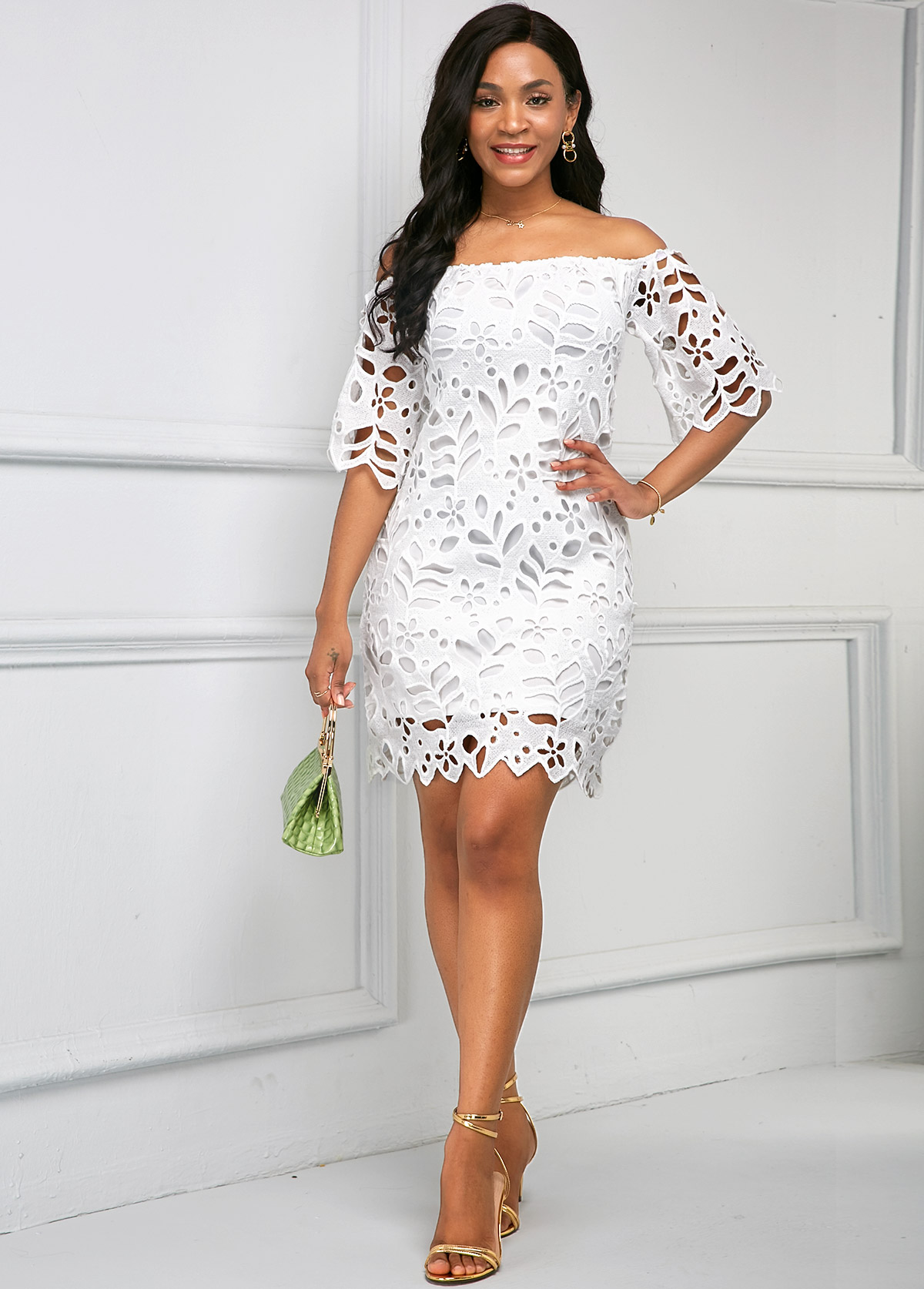 Off Shoulder Pierced Half Sleeve Dress