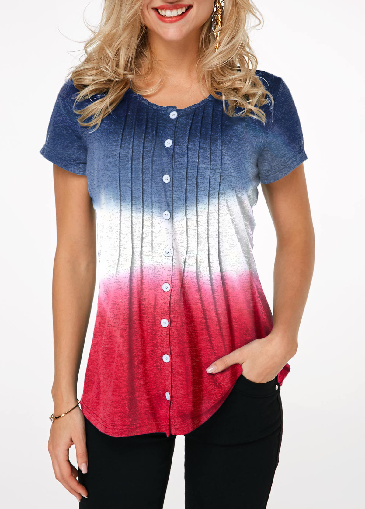 Tie Dye Print Button Front Crinkle Chest T Shirt