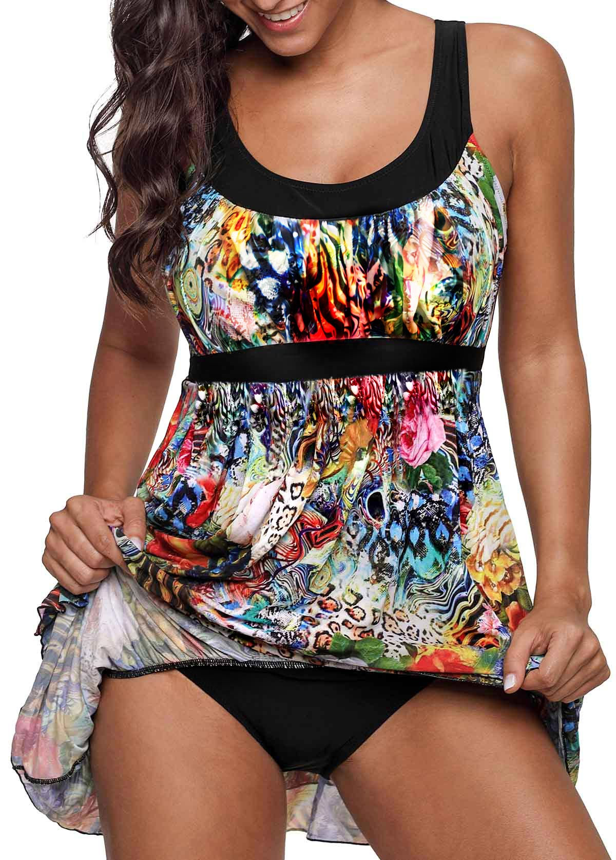 Printed Layered Hem Scoop Back Swimdress and Panty