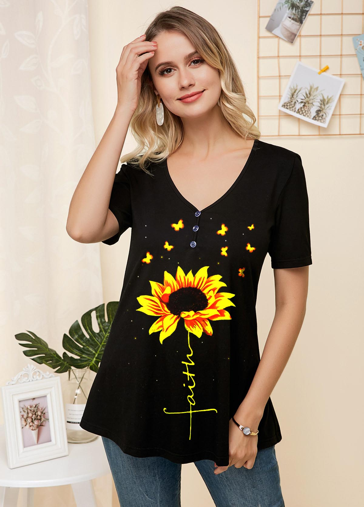 Sunflower Print V Neck Short Sleeve T Shirt