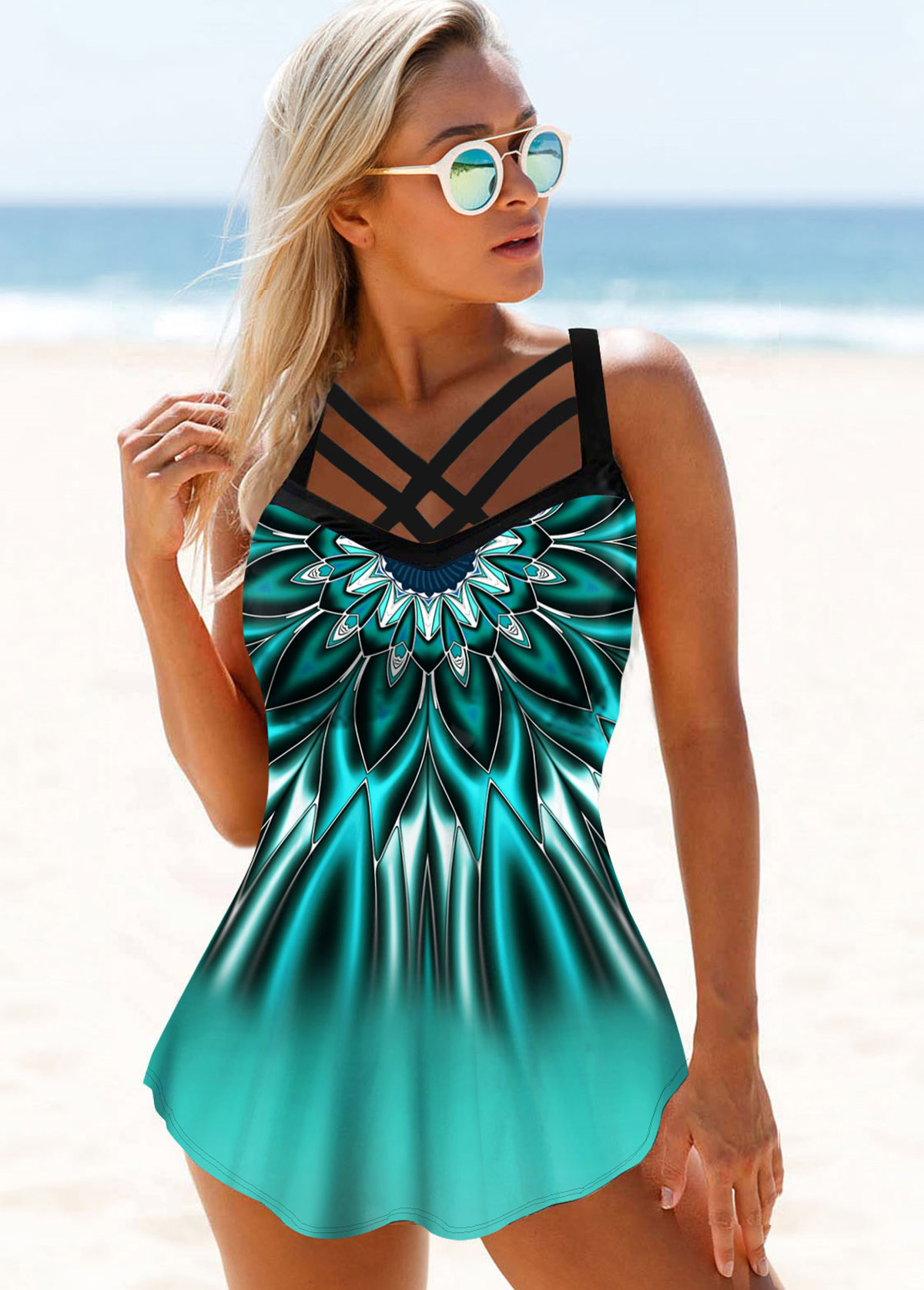 Strappy Front Printed Swimdress and Panty