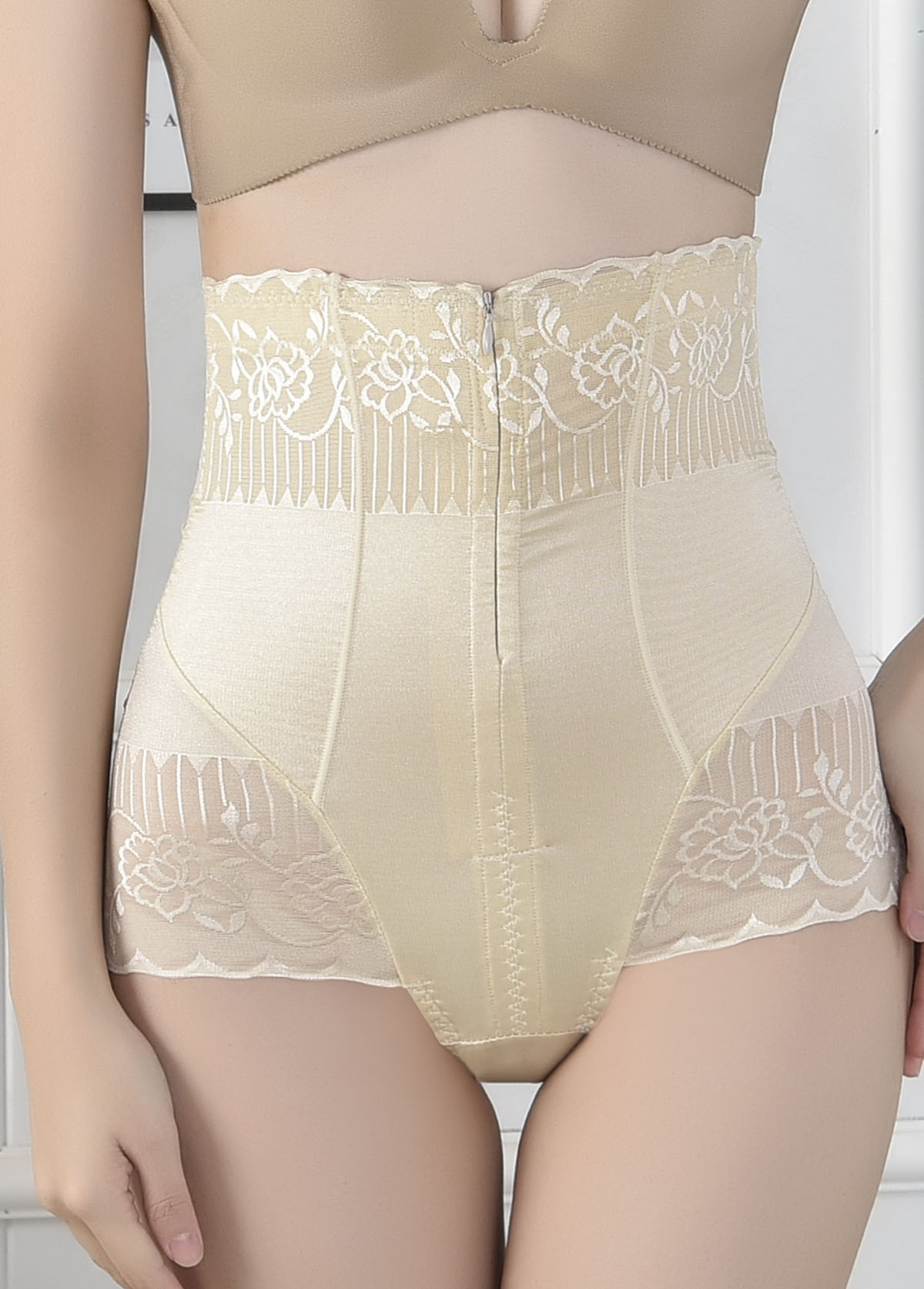Zipper Closure High Waist Shapewear Panty