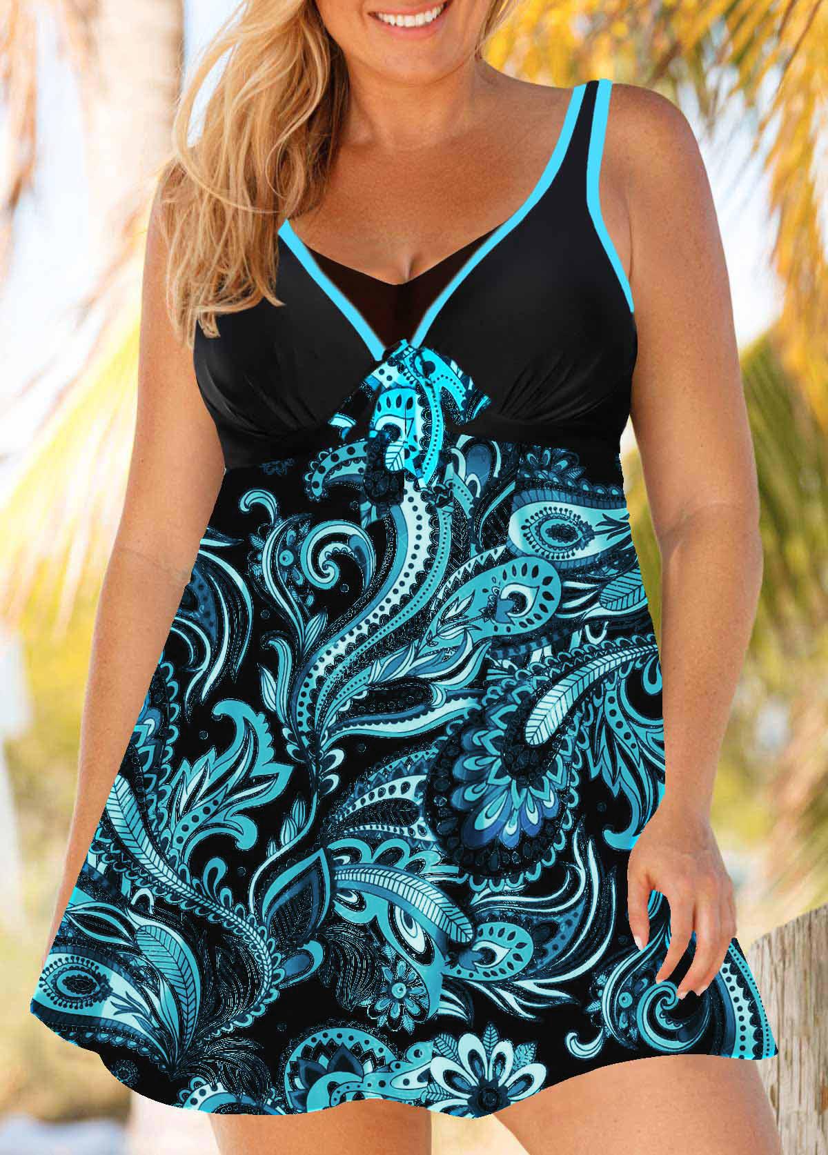 Plus Size Paisley Print Swimdress and Panty