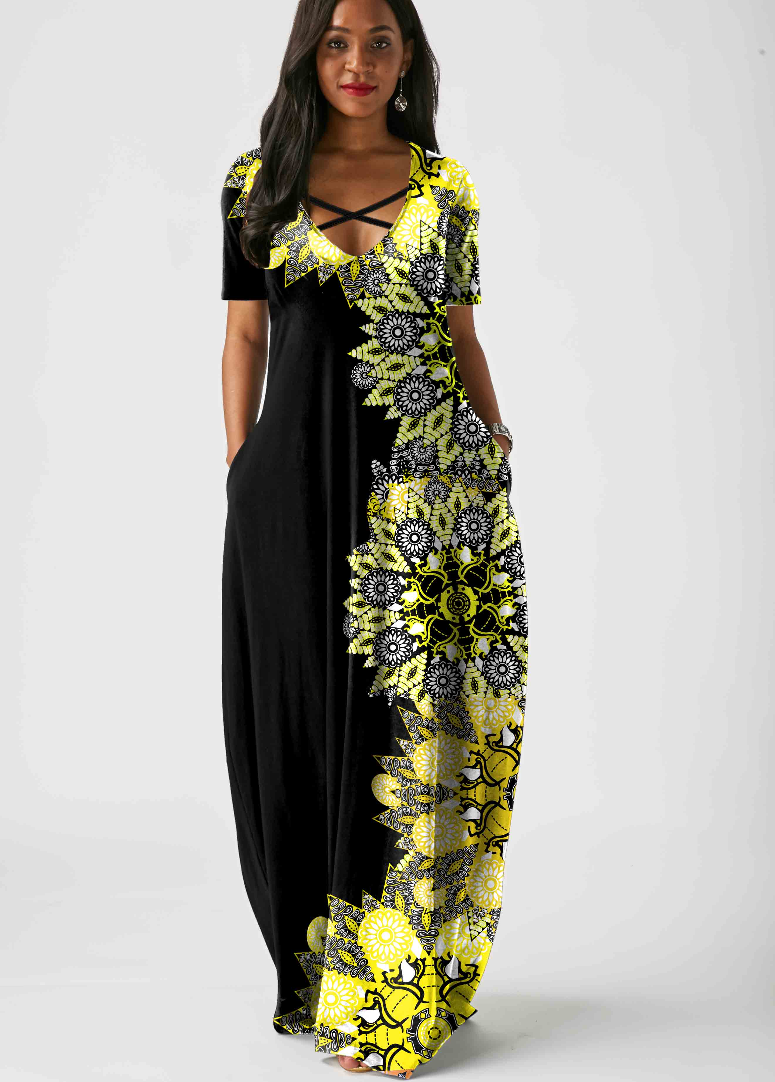 Cross Strap Printed Side Pocket Maxi Dress