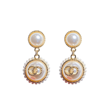 Pearl Embellished White Earring Set