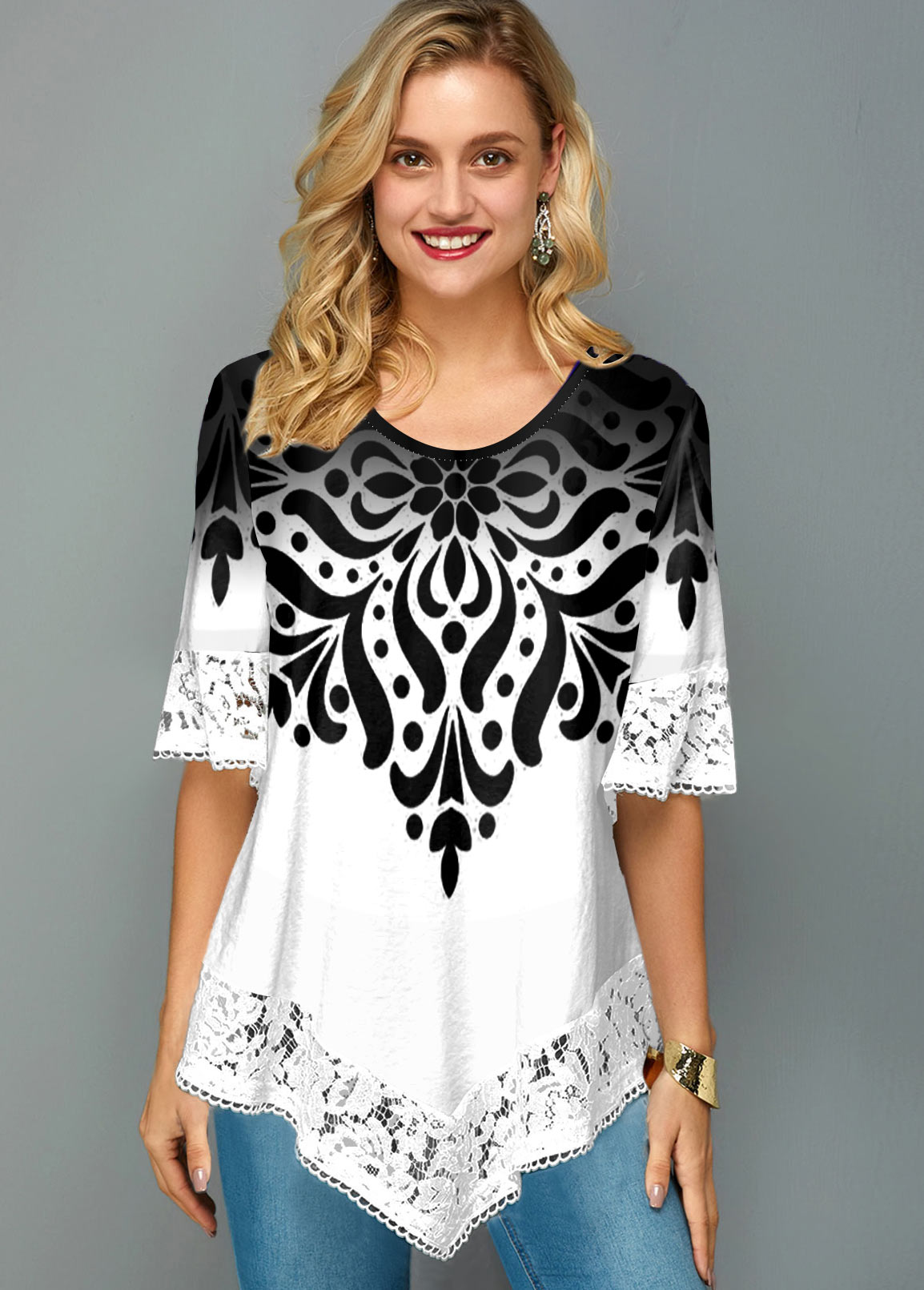 Asymmetric Hem Lace Trim Printed T Shirt