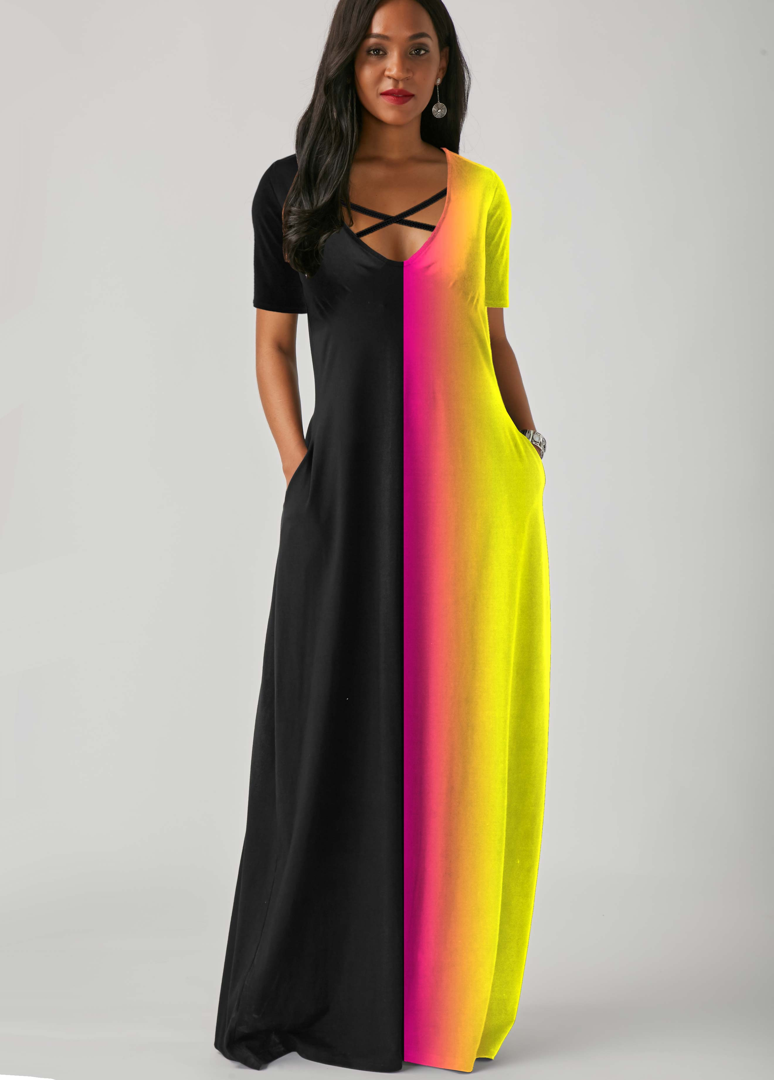 Rainbow Color Side Pocket Cross Strap Maxi Dress