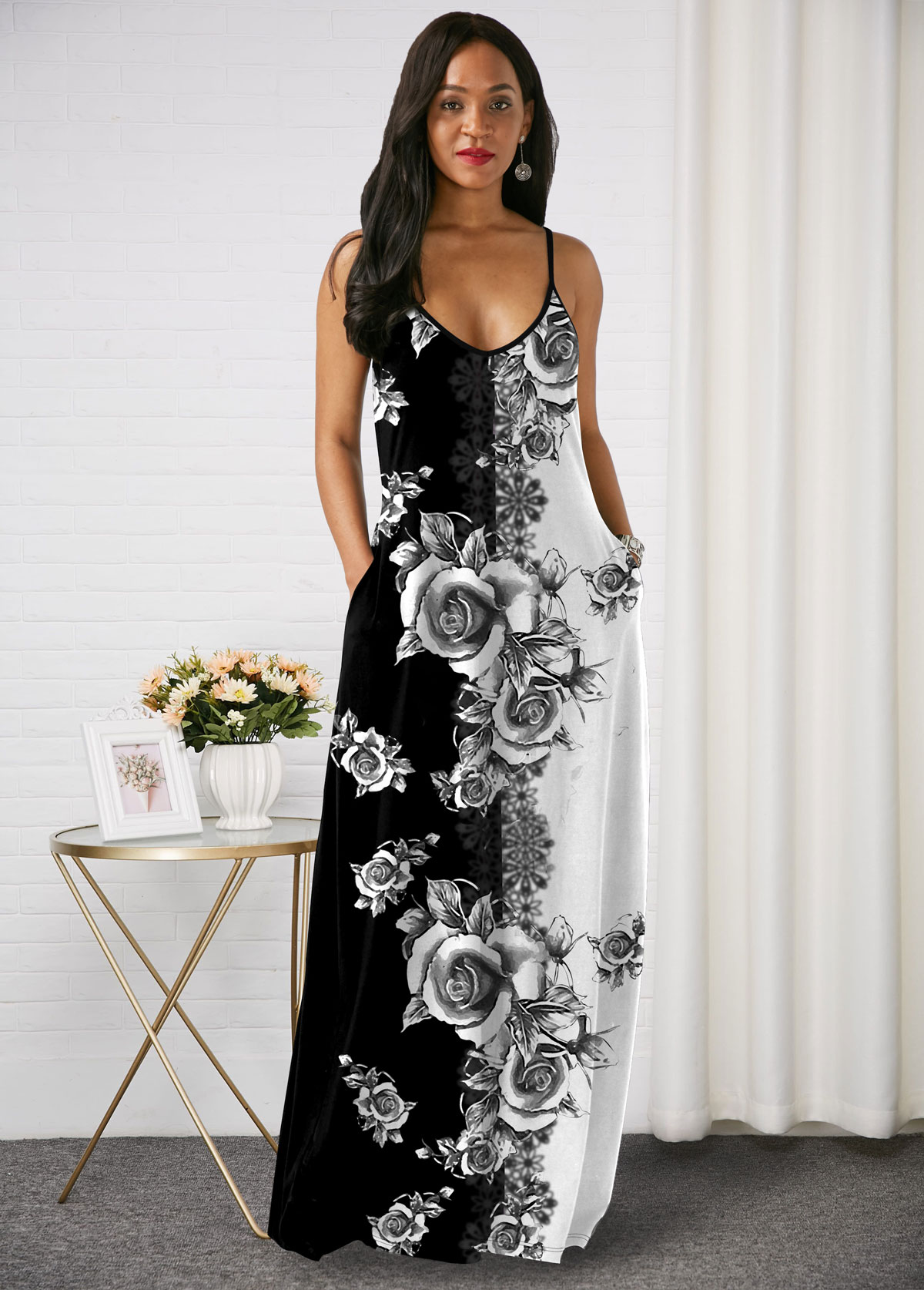 Printed Spaghetti Strap Side Pocket Maxi Dress