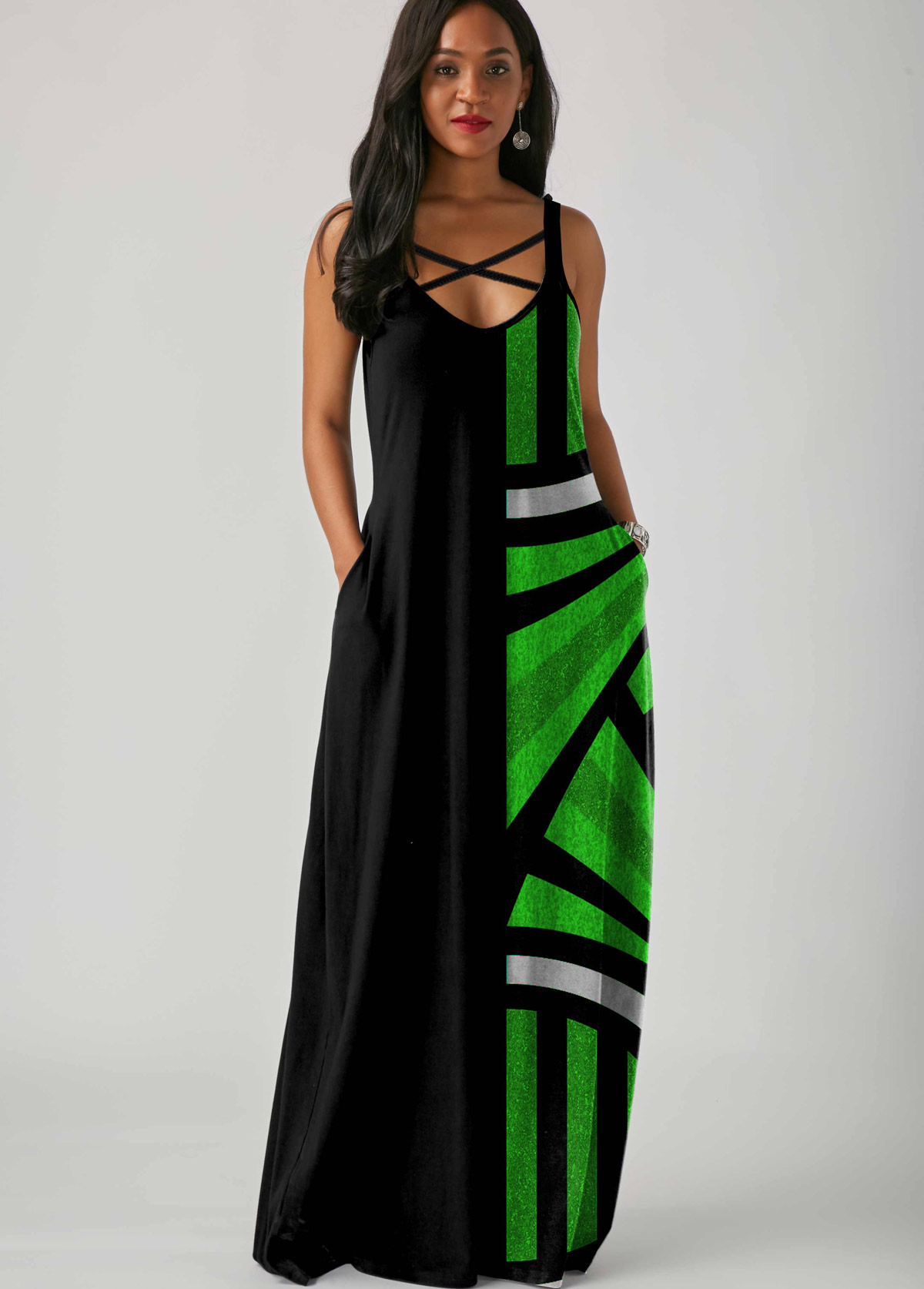 Geometric Print Side Pocket Spaghetti Strap Maxi Dress