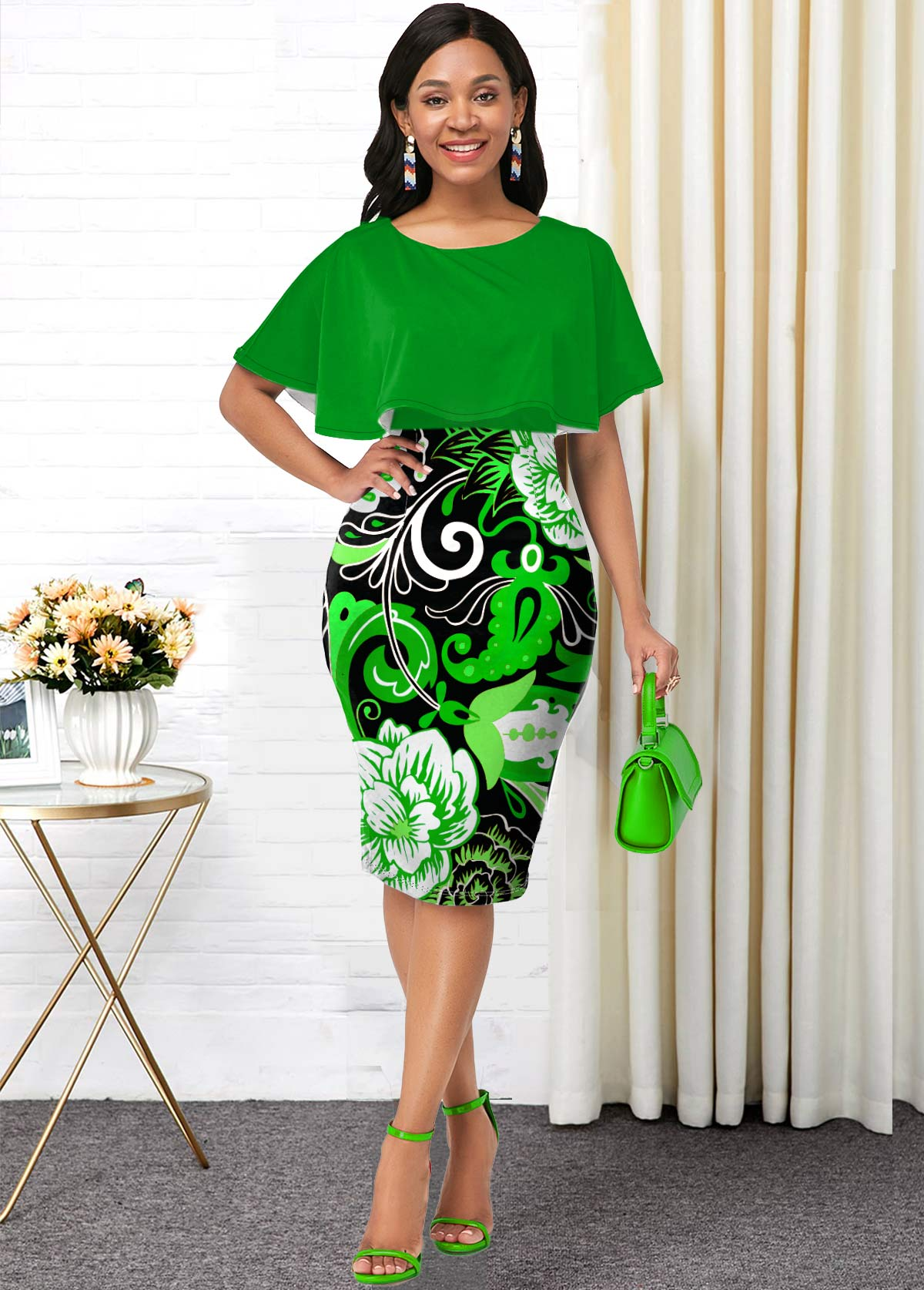 Cape Sleeve Printed Round Neck Dress