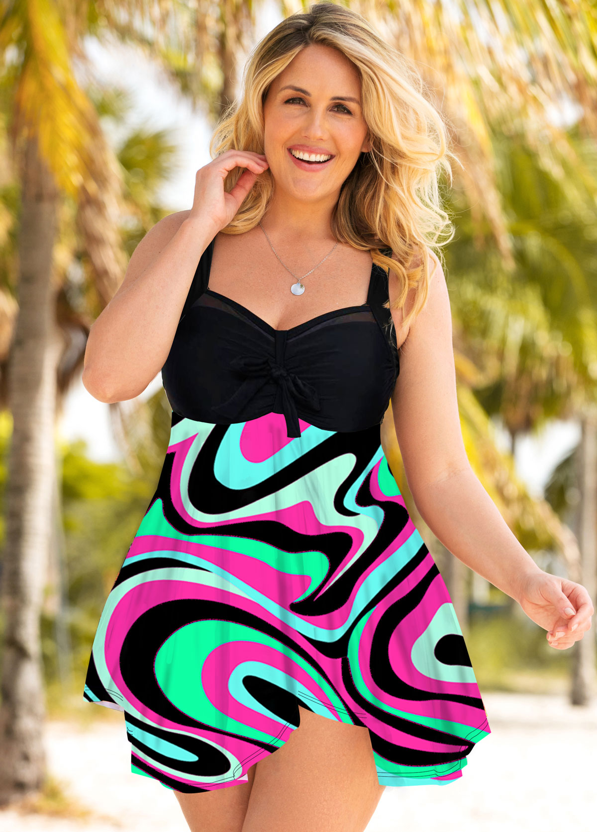 Plus Size Geometric Print Spaghetti Strap Swimdress and Shorts