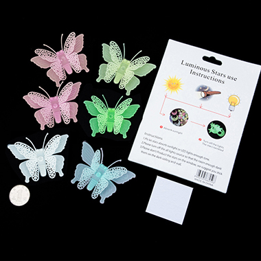 Luminous Butterfly 6 Pieces Stickers