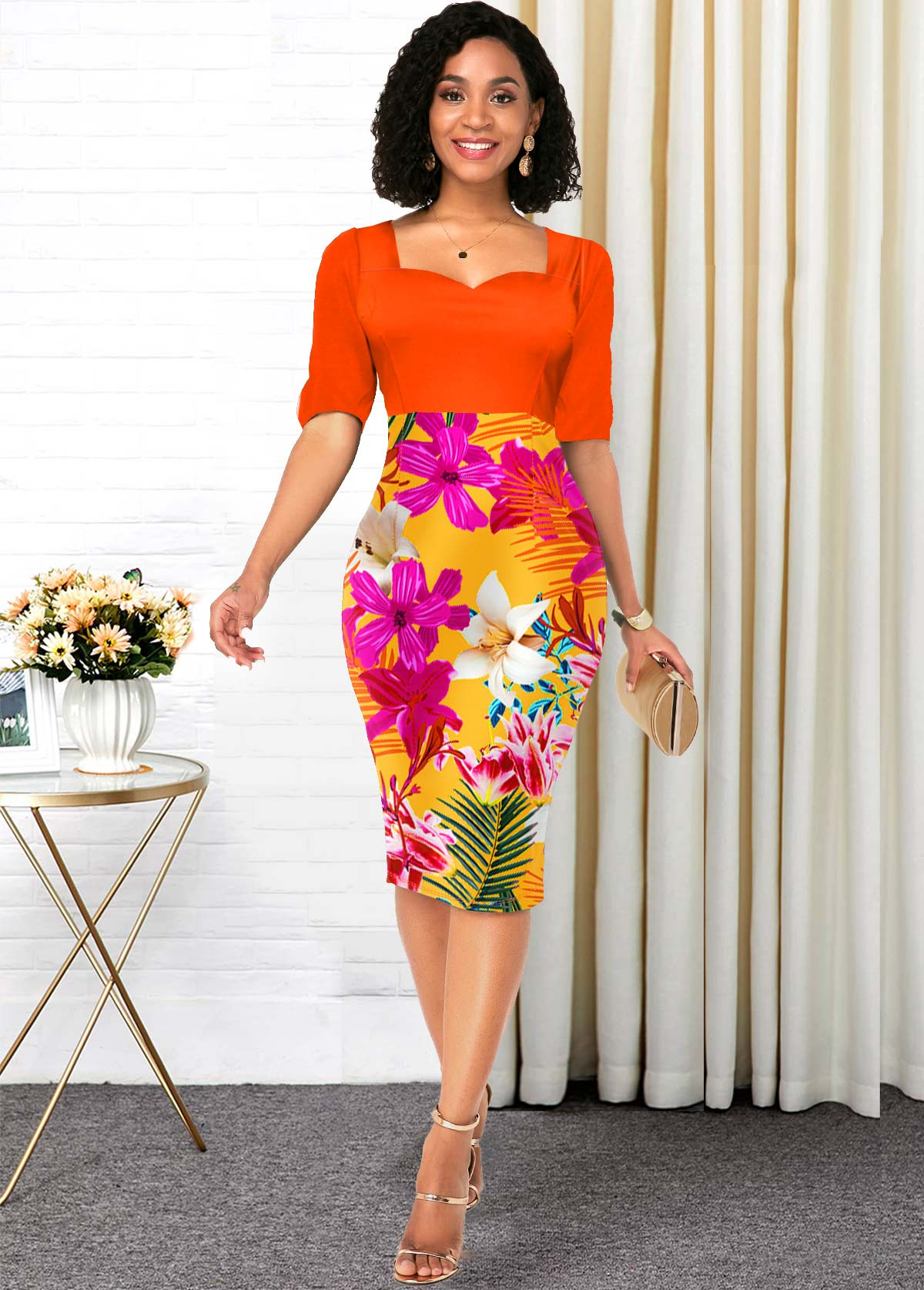 Half Sleeve Floral Print Orange Contrast Dress