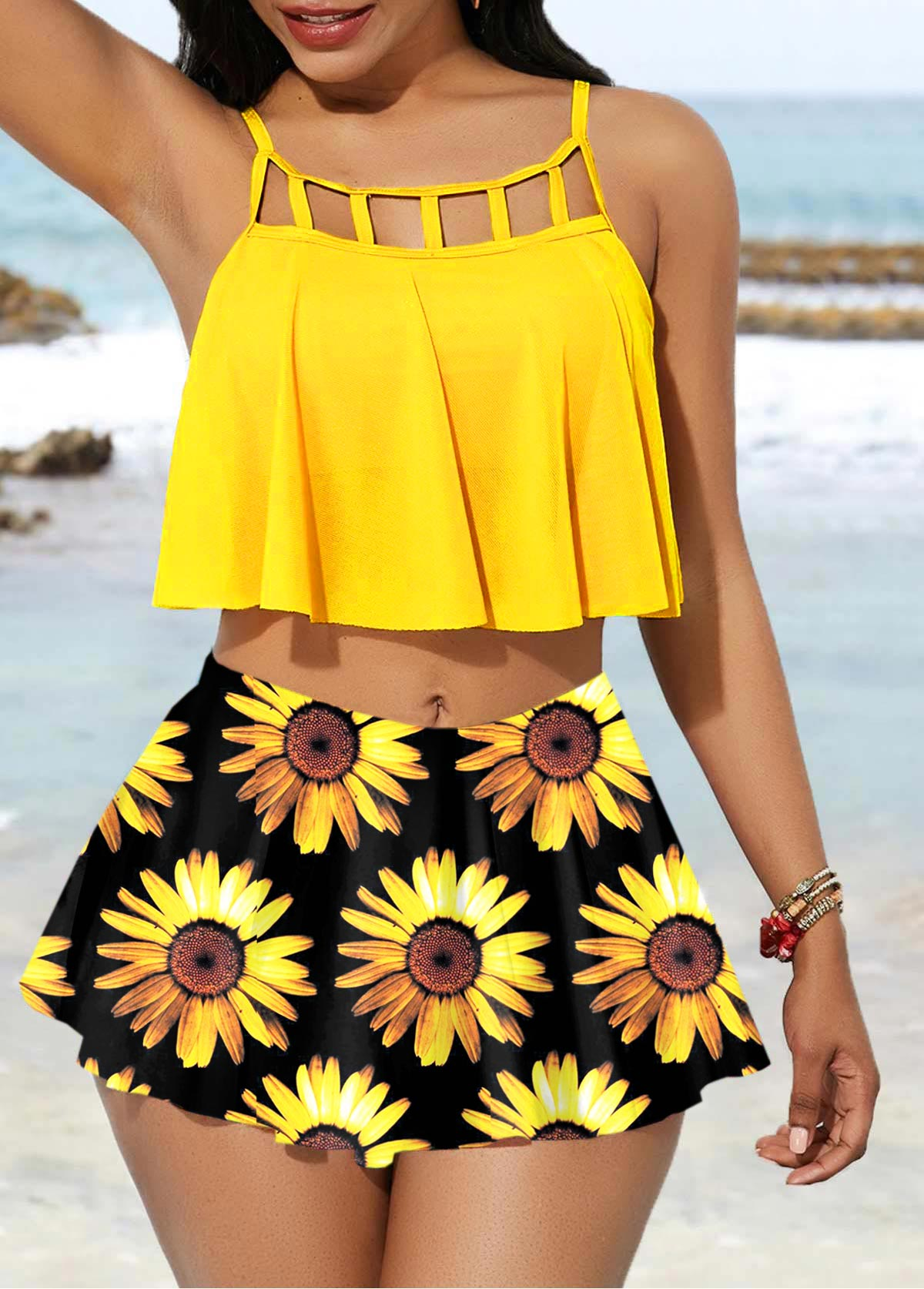 Yellow Sunflower Print Spaghetti Strap Bikini Set
