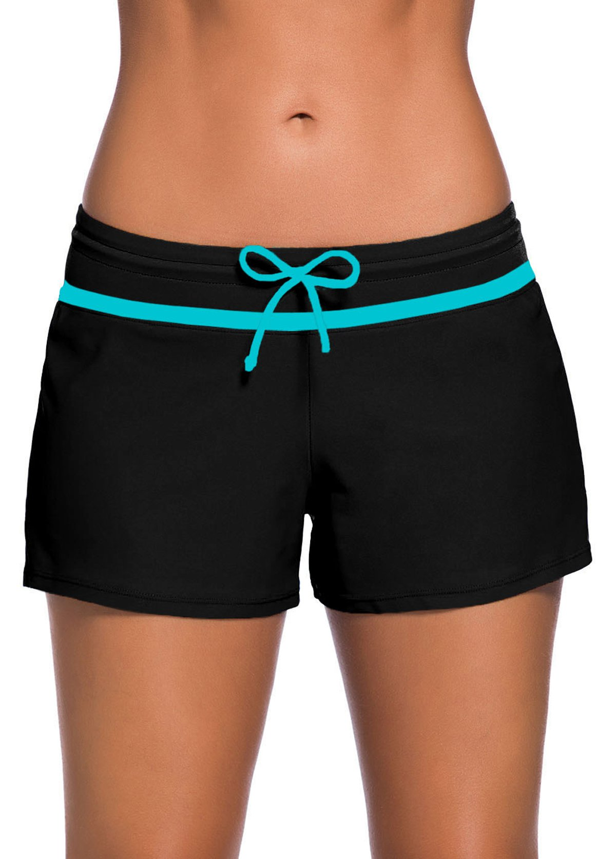 Contrast Piping Bowknot Detail Swimwear Shorts