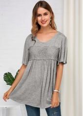 Lace Panel Grey Half Sleeve Soft T Shirt