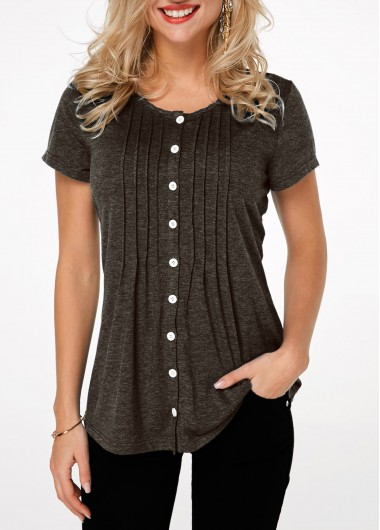 Button Up Pleated Short Sleeve T Shirt - L