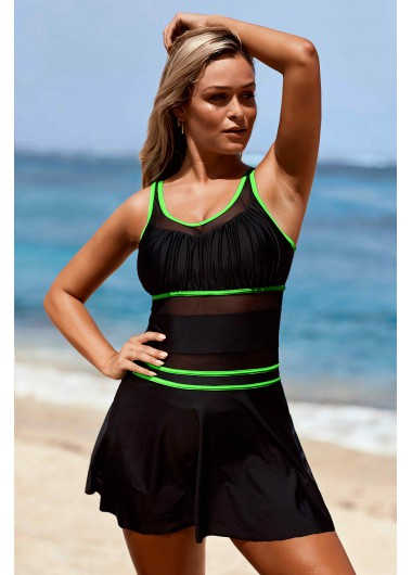 Mesh Panel Wide Strap Black Swimdress and Panty - 10