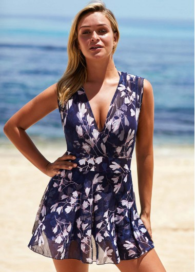 Floral Print Wide Strap V Neck Swimdress and Panty - 16