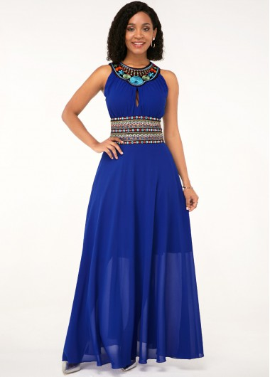 Tribal Print Royal Blue Sleeveless Maxi Chiffon Dress - 16