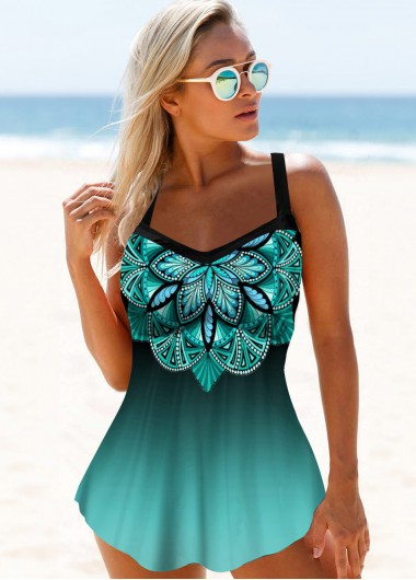 Hollow Back Printed Straps Swimdress and Panty - 10