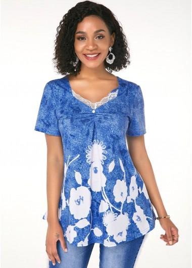 Printed Short Sleeve Lace Trim T Shirt - L