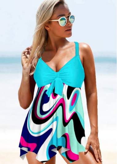 Criss Cross Back Bowknot Detail Swimdress and Panty - 10