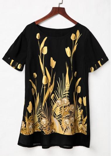Floral Print Round Neck Short Sleeve Blouse - L